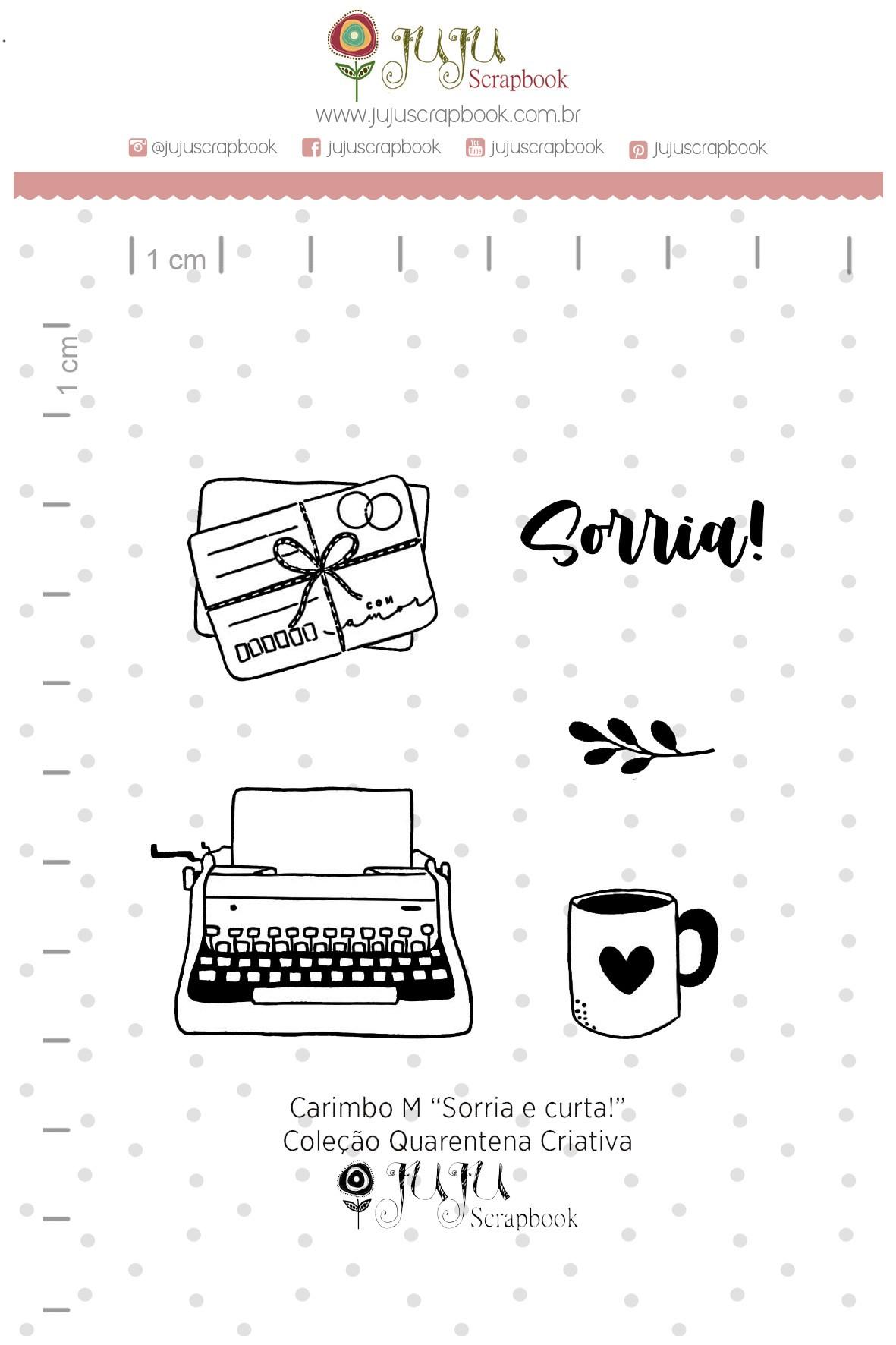 Kit de Carimbos  M - Sorria e Curta - Juju Scrapbook