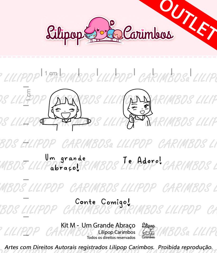 """Cartela de Carimbos M - """"Um Grande Abraço"""" - Lilipop Carimbos  - Lilipop carimbos"""