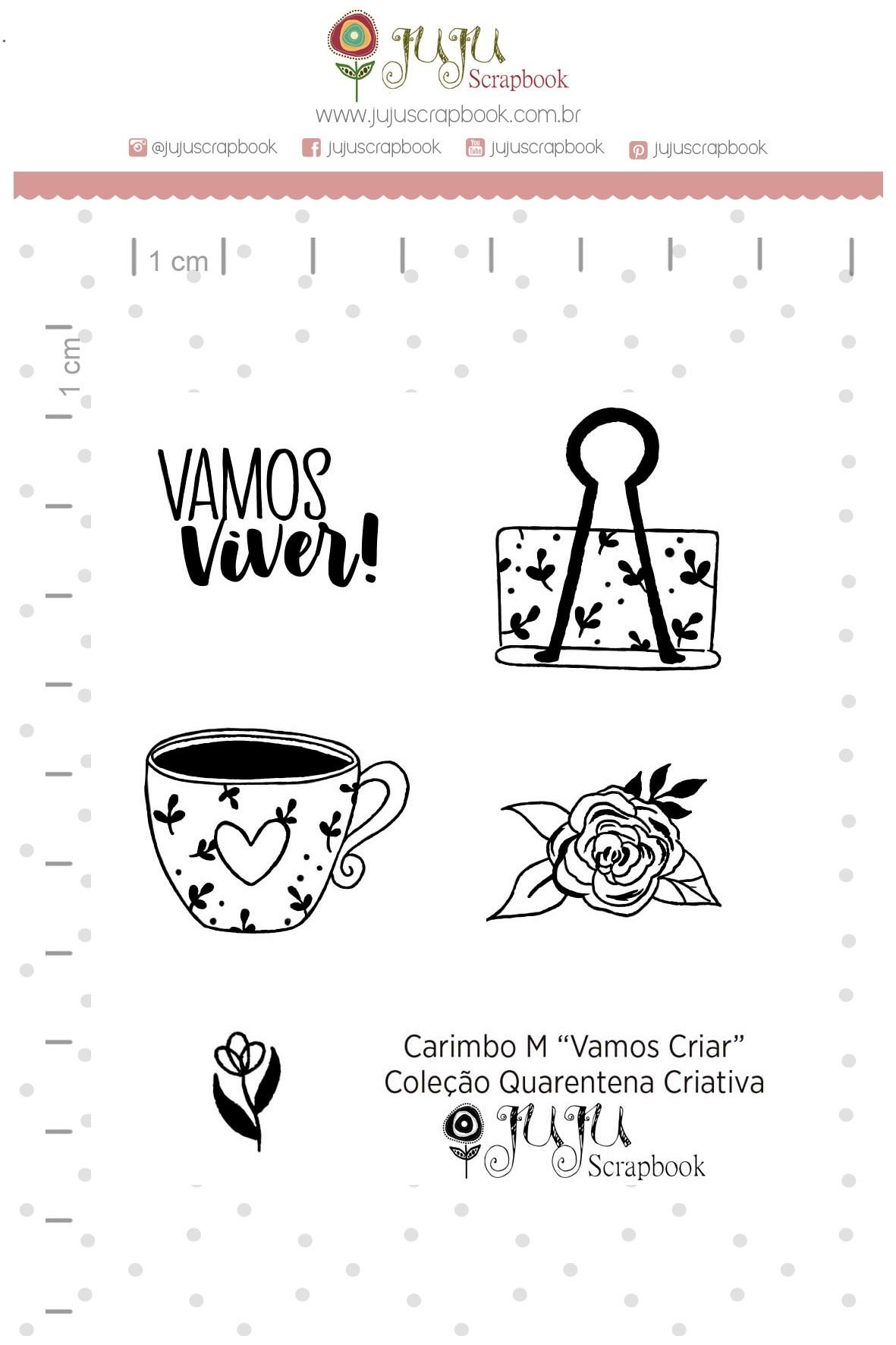 Kit de Carimbos  M - Vamos Criar - Juju Scrapbook