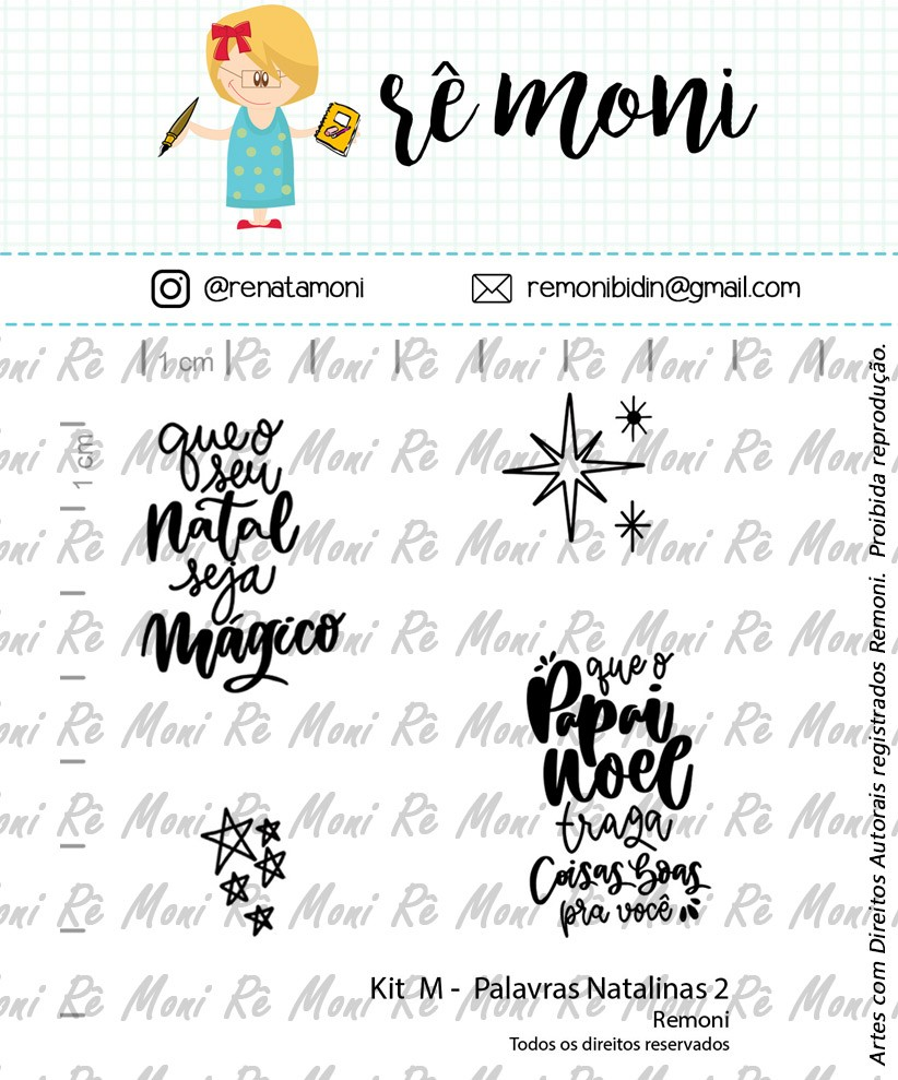 Kit de Carimbos - Palavras Natalinas 2 - Remoni (Coleção Natal 2020)