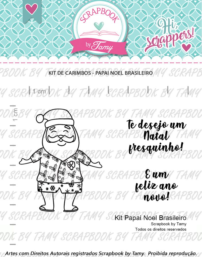 Kit de Carimbos - Papai Noel Brasileiro  - Scrapbook by Tamy
