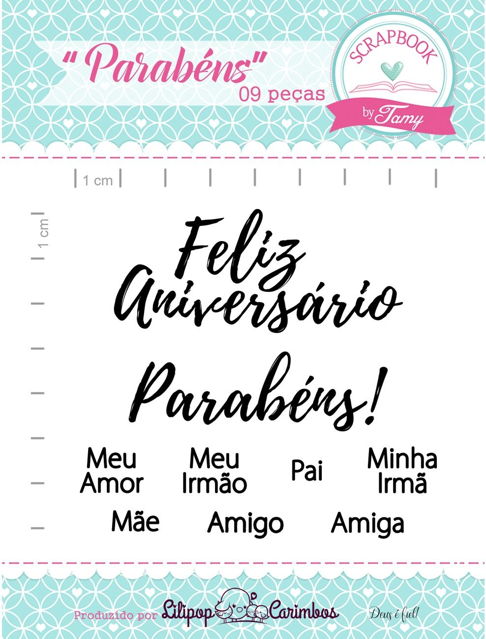Kit de Carimbos - Parabéns - Scrapbook by Tamy (OUTLET)