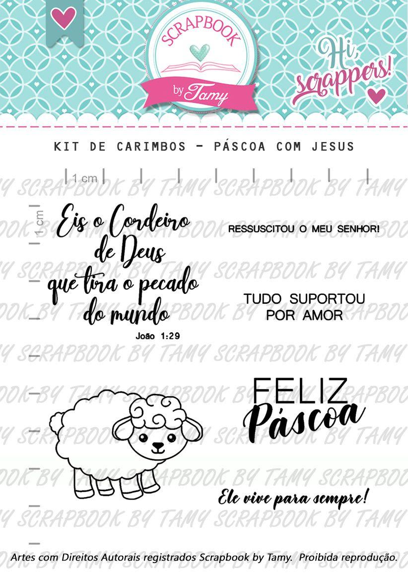 Kit de Carimbos - Páscoa com Jesus - Scrapbook by Tamy