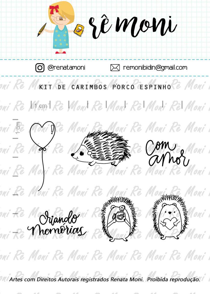 Kit de Carimbos - Porco Espinho - Remoni
