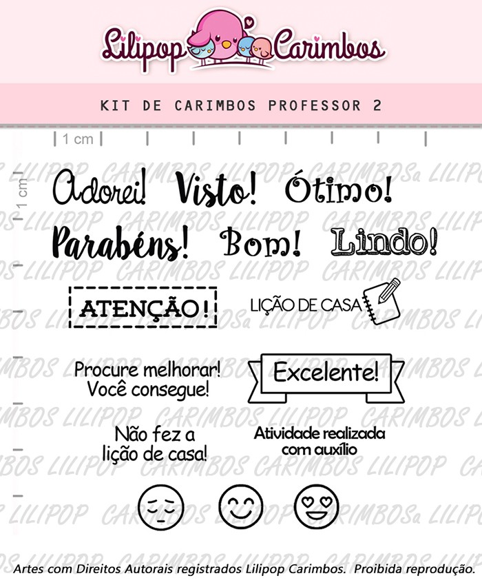 Kit de Carimbos - Professor 2 (LILIPOP CARIMBOS)
