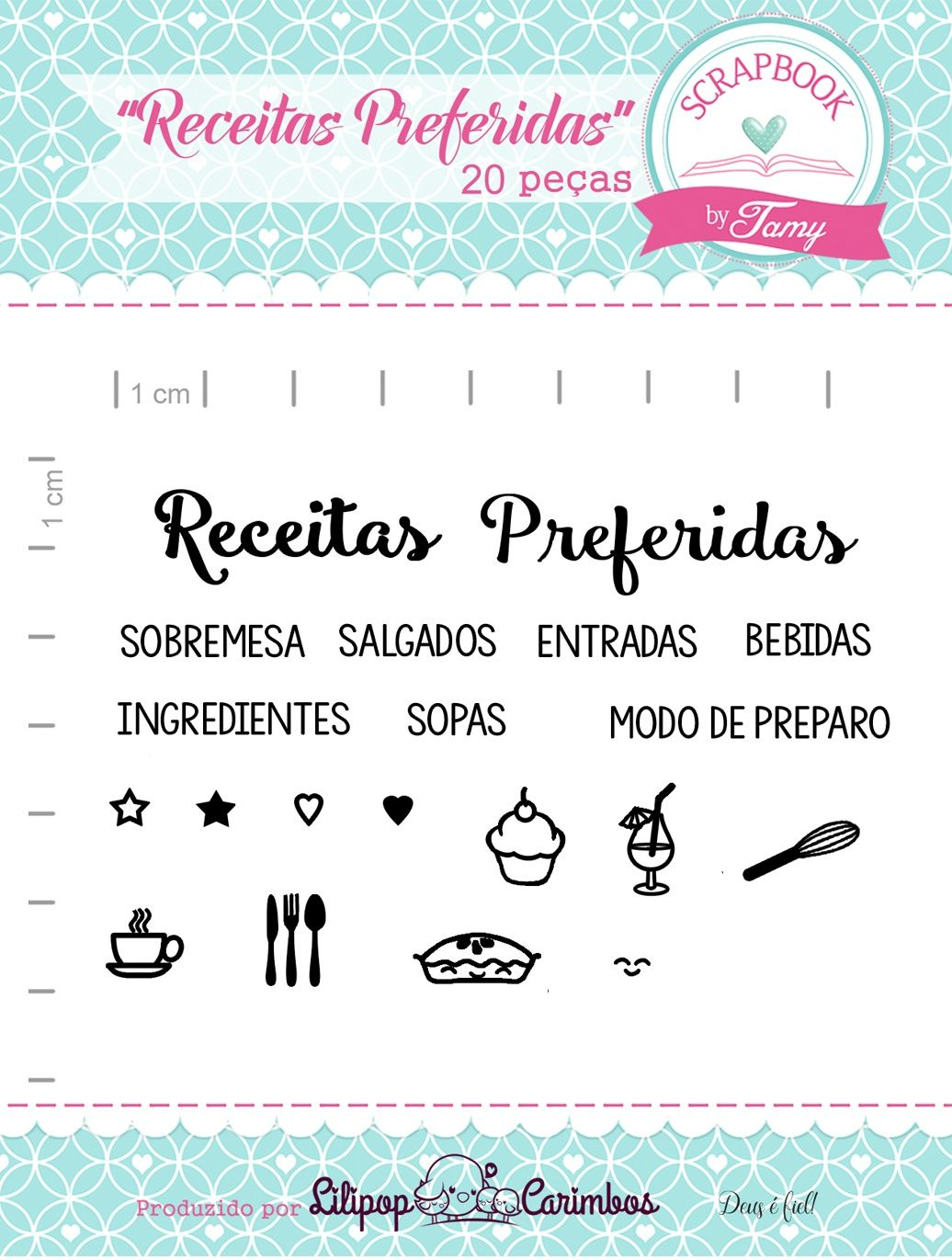 Kit de Carimbos - Receitas Preferidas - Scrapbook by Tamy