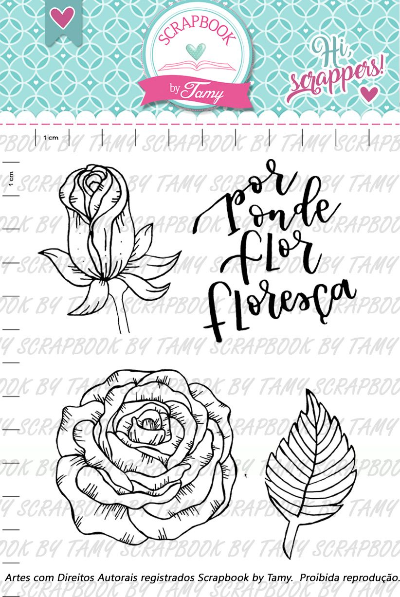 Kit de Carimbos - Rosa Flor - Scrapbook by Tamy