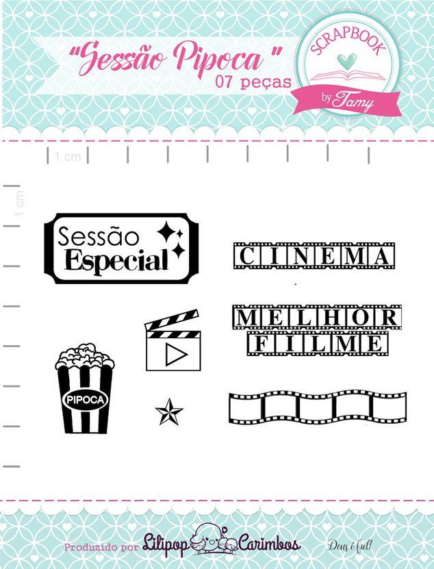 Kit de Carimbos - Sessão Pipoca - Scrapbook by Tamy
