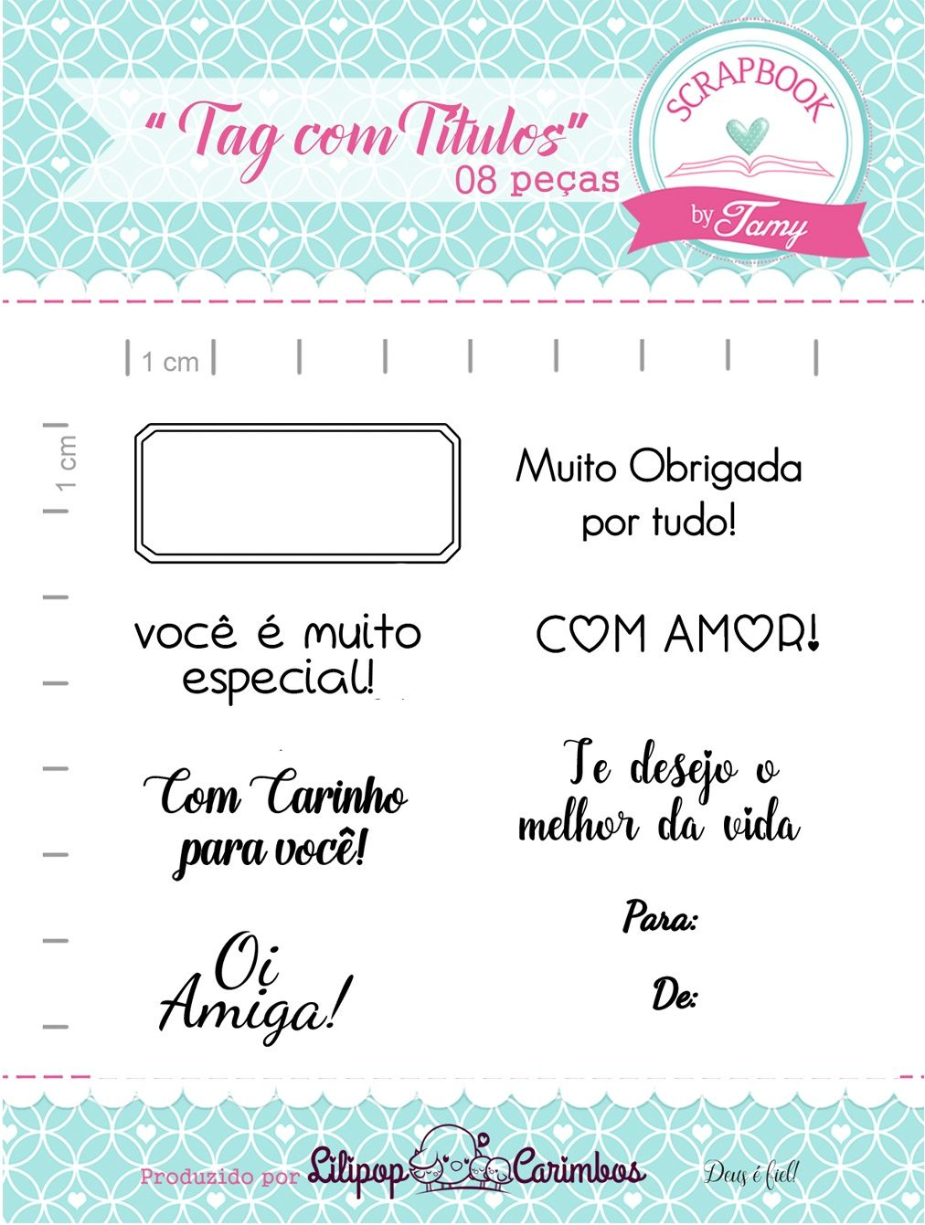 Kit de Carimbos - Tag com Títulos - Scrapbook by Tamy