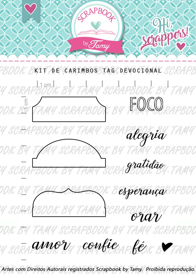 Kit de Carimbos - Tag Devocional- Scrapbook by Tamy