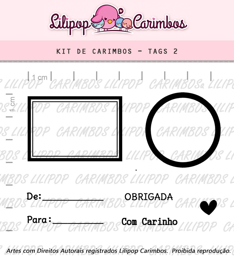 Kit  de Carimbos - Tags 2 - Lilipop Carimbos
