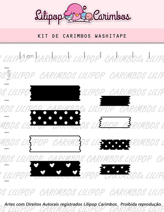 Kit  de Carimbos - Washitape -  LILIPOP CARIMBOS