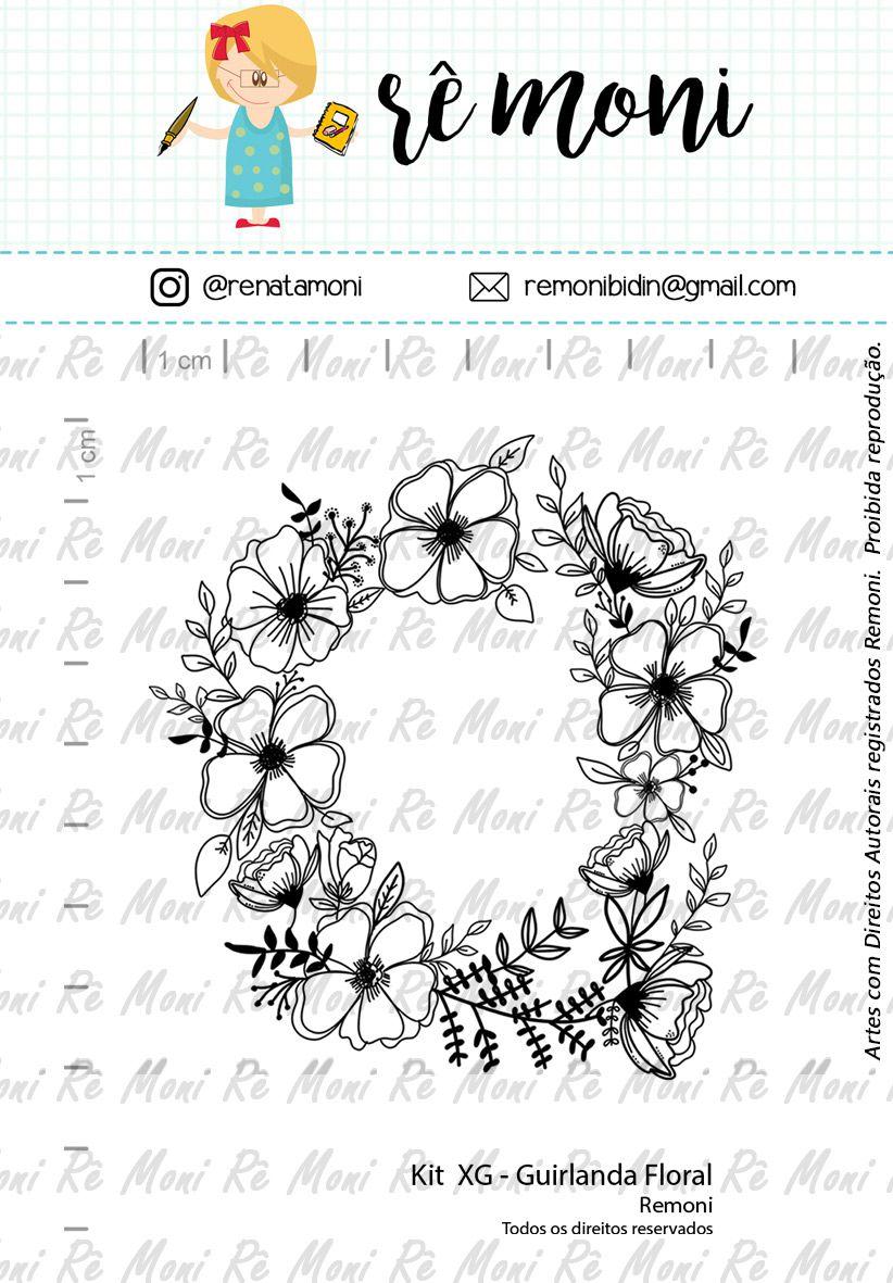 Kit de Carimbos XG - Guirlanda Floral (Remoni)