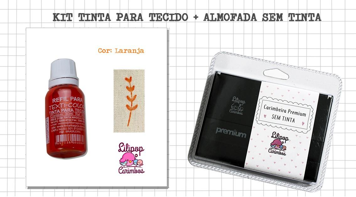 Kit de Tinta para tecido - Laranja + almofada sem tinta
