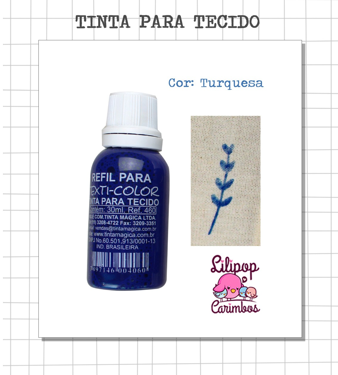 Kit de Tinta para tecido - Turquesa + almofada sem tinta