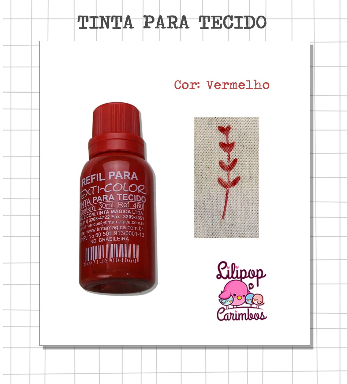 Kit de Tinta para tecido - Vermelho + almofada sem tinta