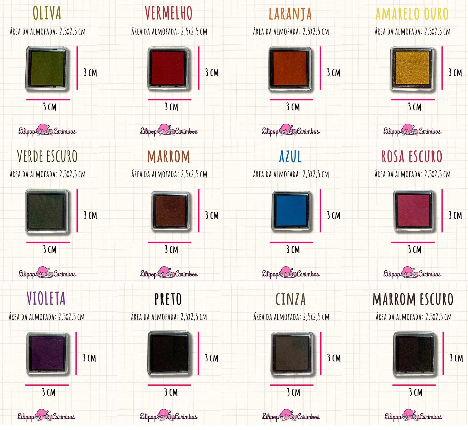 KIT PROMOCIONAL - MINI CARIMBEIRAS - 12 cores - Tinta pigmentada  - Lilipop carimbos