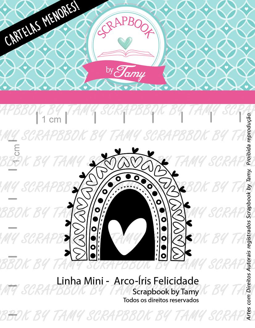 "Cartela de Carimbos Mini - ""Arco - Íris Felicidade"" - Scrapbook by Tamy  - Lilipop carimbos"