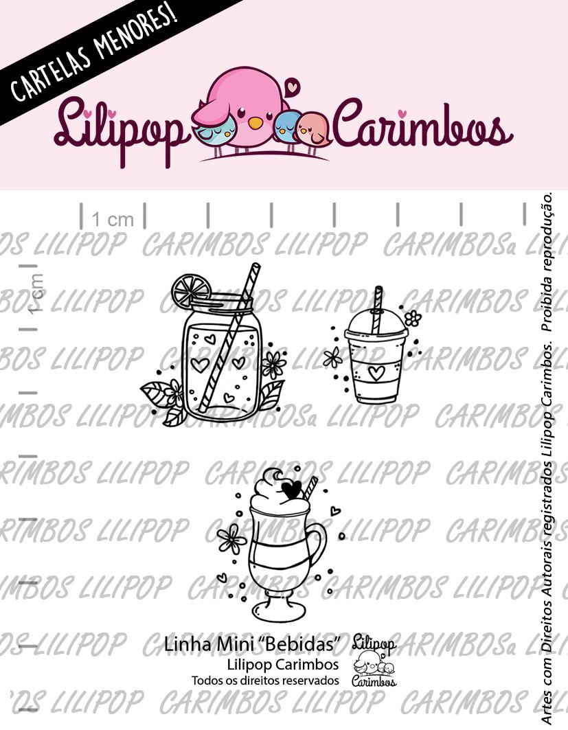 "Cartela de Carimbos Mini -  ""Bebidas"" - Lilipop Carimbos  - Lilipop carimbos"