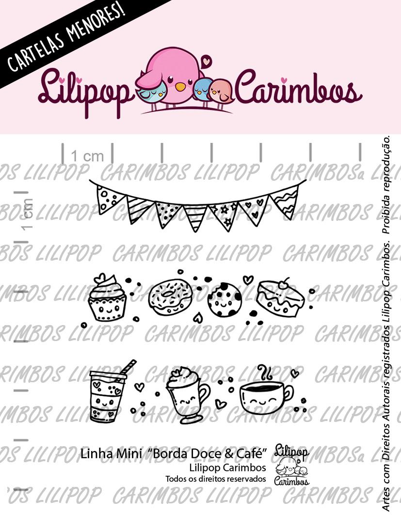 """Cartela de Carimbos Mini - """"Borda Doce & Café"""" - Lilipop Carimbos  - Lilipop carimbos"""