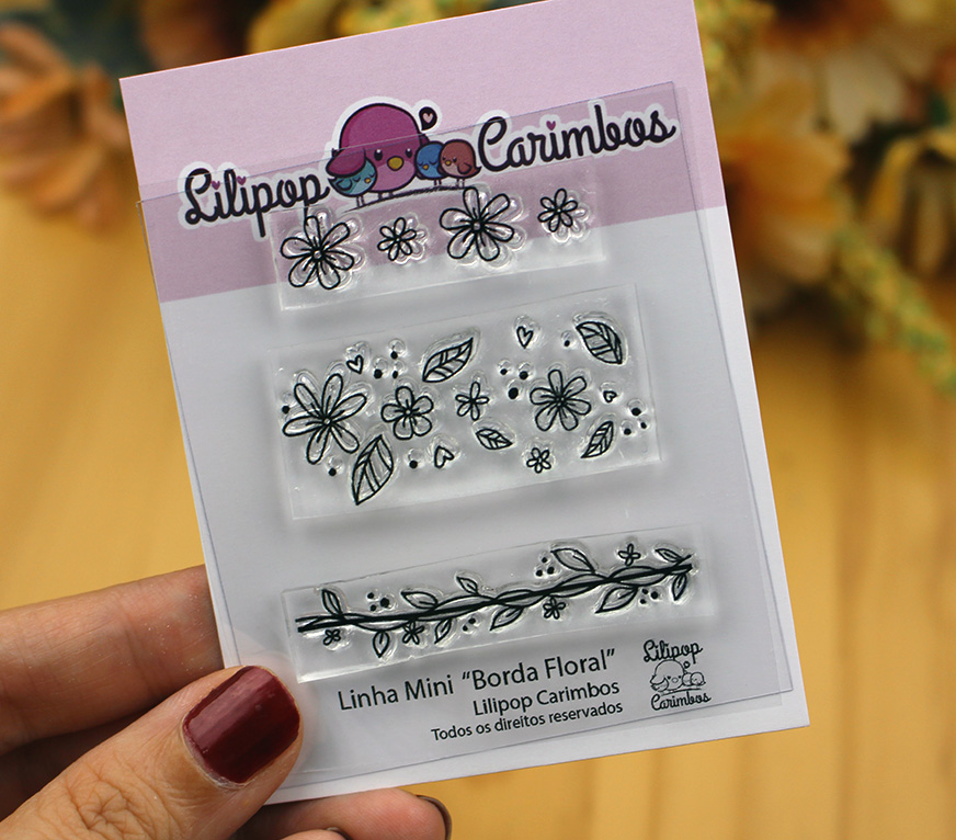 """Cartela de Carimbos Mini - """"Borda Floral"""" - Lilipop Carimbos   - Lilipop carimbos"""