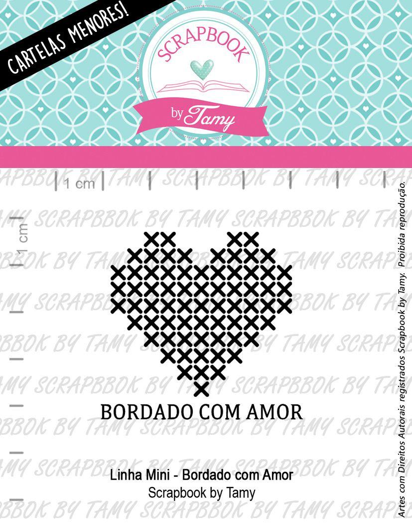 """Cartela de Carimbos Mini - """"Bordado com Amor"""" - Scrapbook by Tamy  - Lilipop carimbos"""