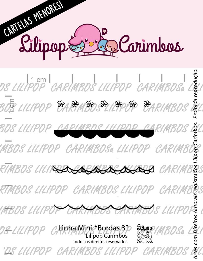 "Cartela de Carimbos Mini - ""Bordas 3"" - Lilipop Carimbos  - Lilipop carimbos"