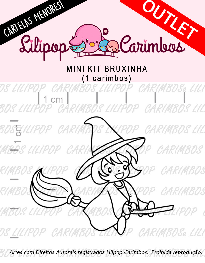 "Cartela de Carimbos Mini - ""Bruxinha"" - Lilipop Carimbos   - Lilipop carimbos"