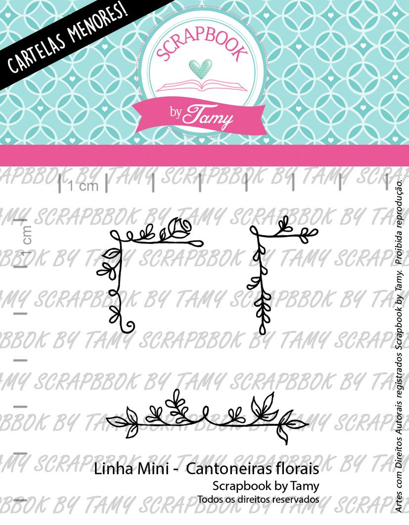"Cartela de Carimbos Mini - ""Cantoneiras Florais"" - Scrapbook by Tamy  - Lilipop carimbos"