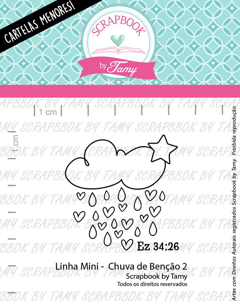 """Cartela de Carimbos Mini - """"Chuva de Benção 2"""" - Scrapbook by Tamy  - Lilipop carimbos"""