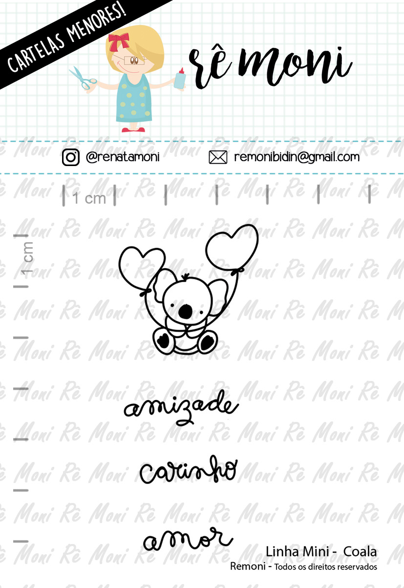 "Cartela de Carimbos Mini - ""Coala"" - Remoni   - Lilipop carimbos"