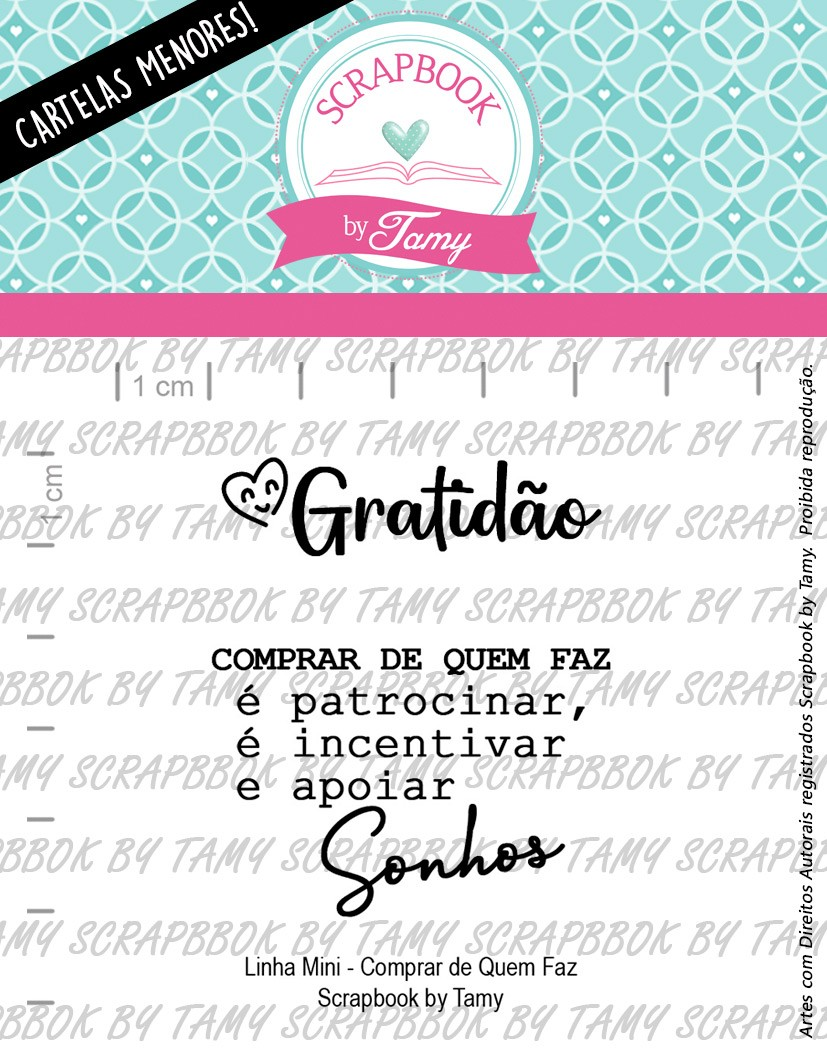 "Cartela de Carimbos Mini - ""Comprar de Quem Faz"" - Scrapbook by Tamy  - Lilipop carimbos"