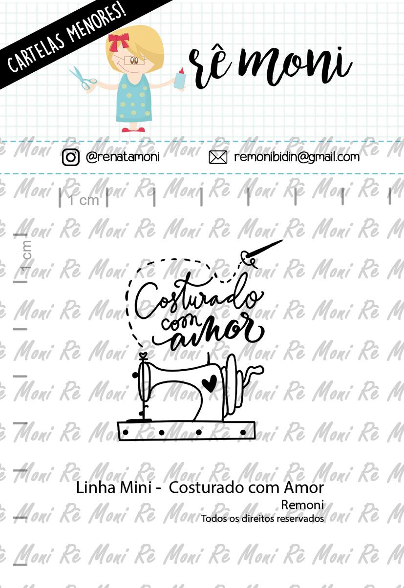 """Cartela de Carimbos Mini - """"Costurado com Amor"""" - Remoni   - Lilipop carimbos"""