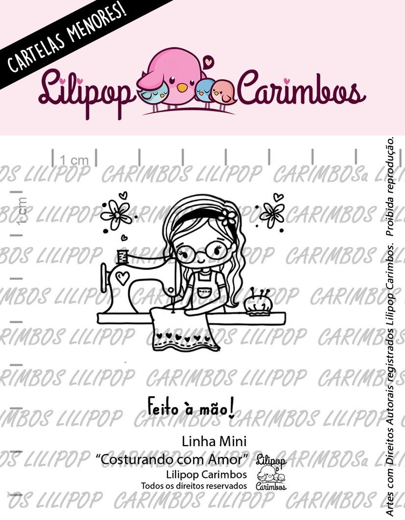"""Cartela de Carimbos Mini - """"Costurando com Amor"""" - Lilipop Carimbos   - Lilipop carimbos"""