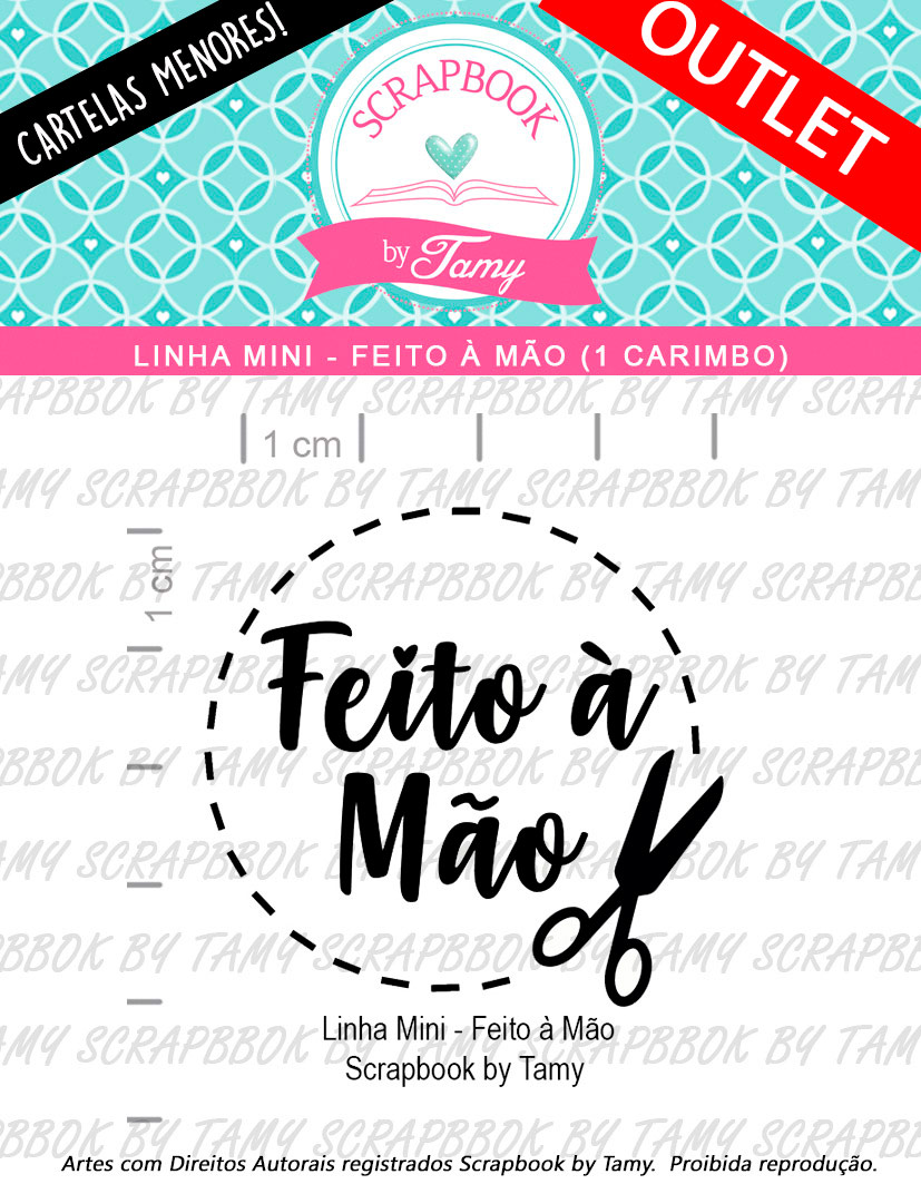 "Cartela de Carimbos Mini - "" Feito à Mão"" - Scrapbook by Tamy  - Lilipop carimbos"
