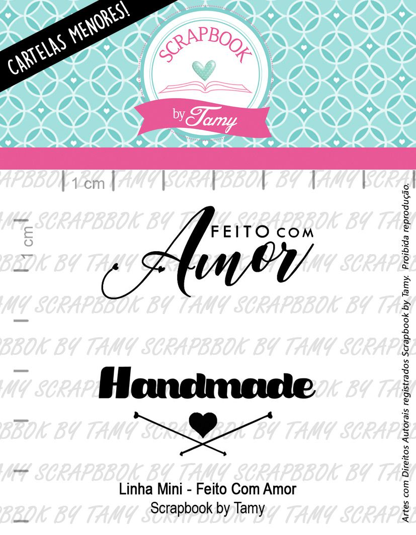 "Cartela de Carimbos Mini - ""Feito com Amor"" - Scrapbook by Tamy  - Lilipop carimbos"