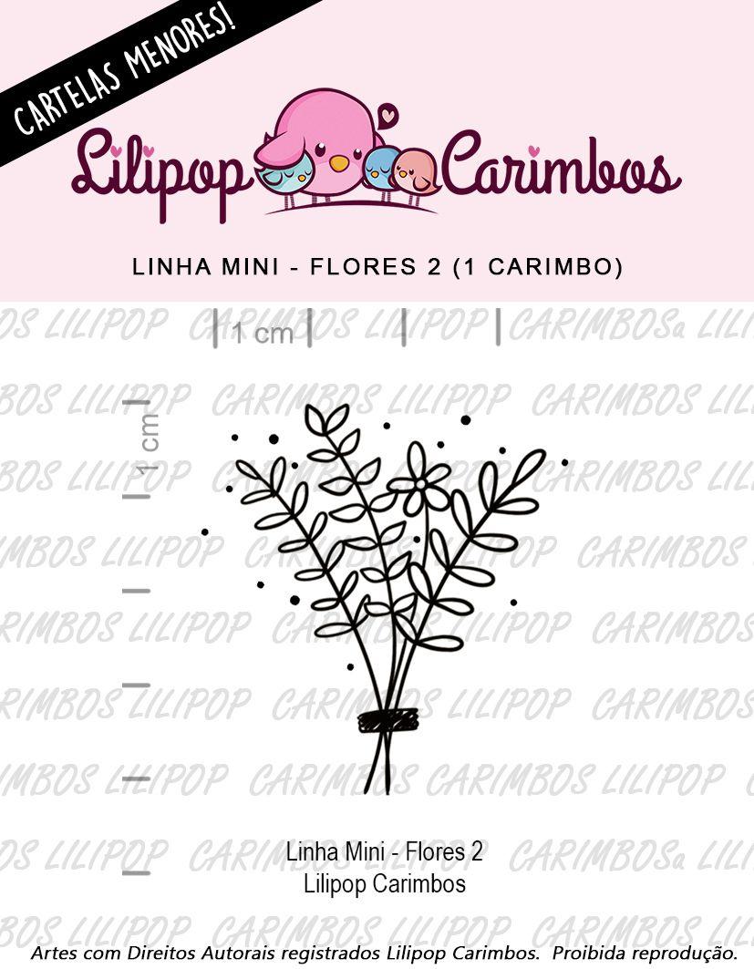 "Cartela de Carimbos Mini - ""Flores 2"" - LILIPOP CARIMBOS  - Lilipop carimbos"