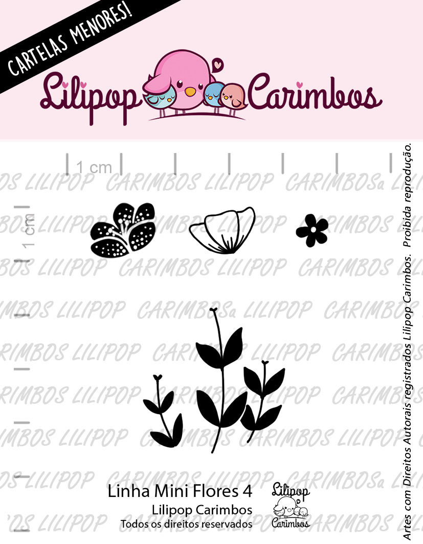 "Cartela de Carimbos Mini - ""Flores 4"" - Lilipop Carimbos   - Lilipop carimbos"