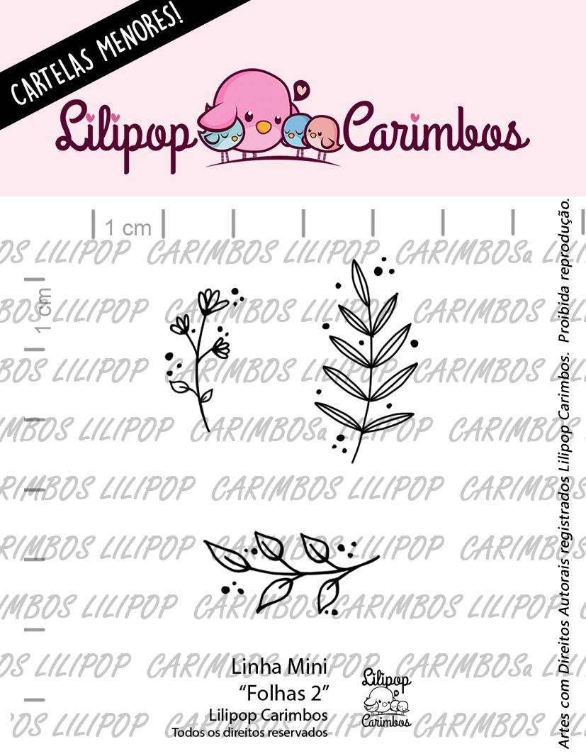 """Cartela de Carimbos Mini - """"Folhas 2"""" - Lilipop Carimbos  - Lilipop carimbos"""