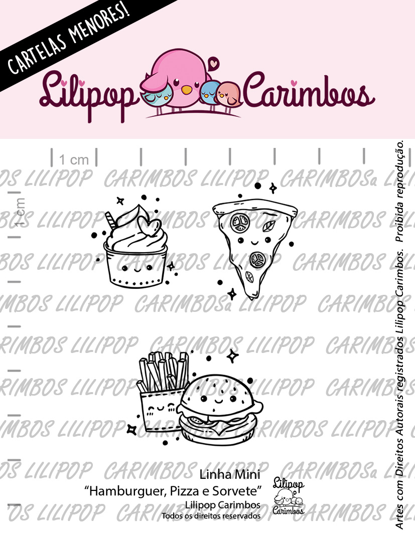 "Cartela de Carimbos Mini - ""Hamburguer, Pizza e Sorvete"" - Lilipop Carimbos  - Lilipop carimbos"