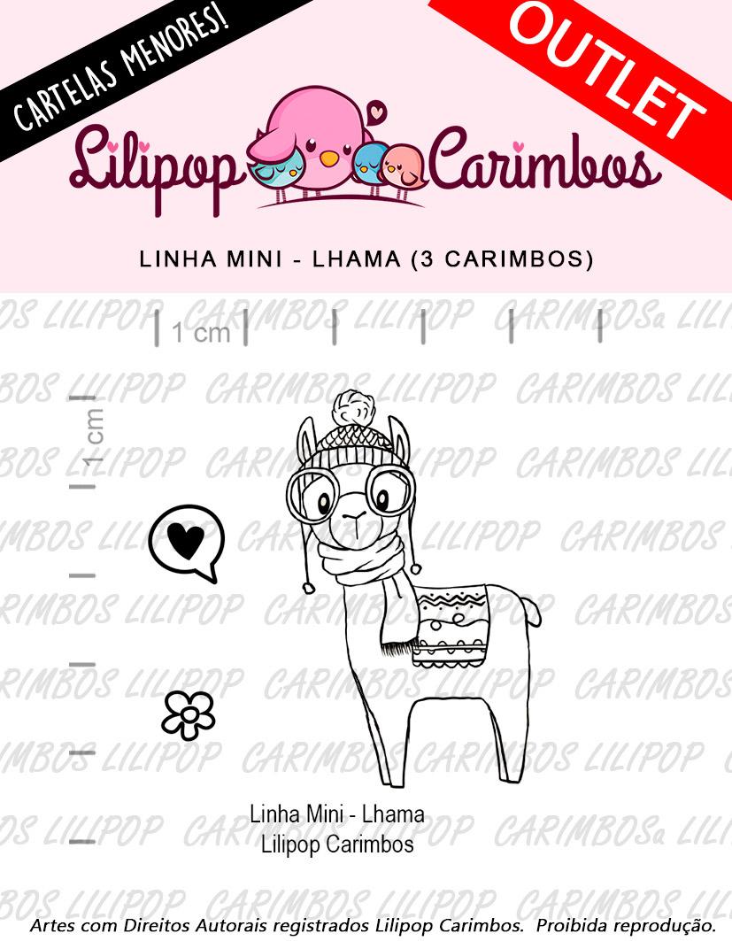 "Cartela de Carimbos Mini - ""Lhama"" - LILIPOP CARIMBOS  - Lilipop carimbos"