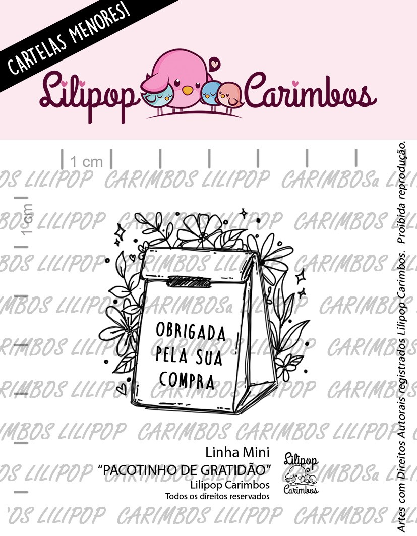 """Cartela de Carimbos Mini - """"Pacotinho de Gratidão"""" - Lilipop Carimbos  - Lilipop carimbos"""