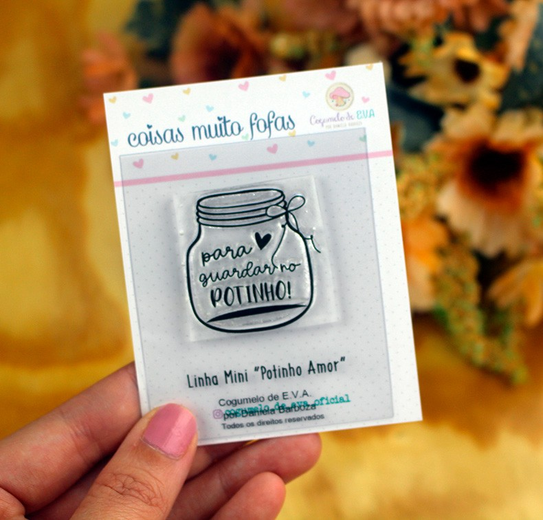 "Cartela de Carimbos Mini - ""Potinho Amor"" - Cogumelo de E.V.A.  - Lilipop carimbos"