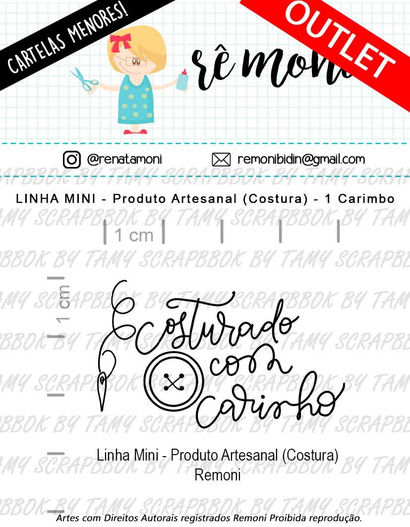 """Cartela de Carimbos Mini - """"Produto Artesanal Costura"""" - Remoni  - Lilipop carimbos"""
