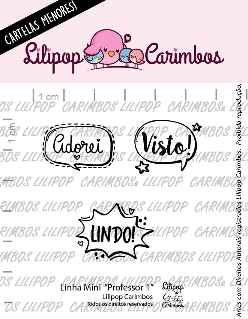 """Cartela de Carimbos Mini - """"Professor 1"""" - Lilipop Carimbos   - Lilipop carimbos"""