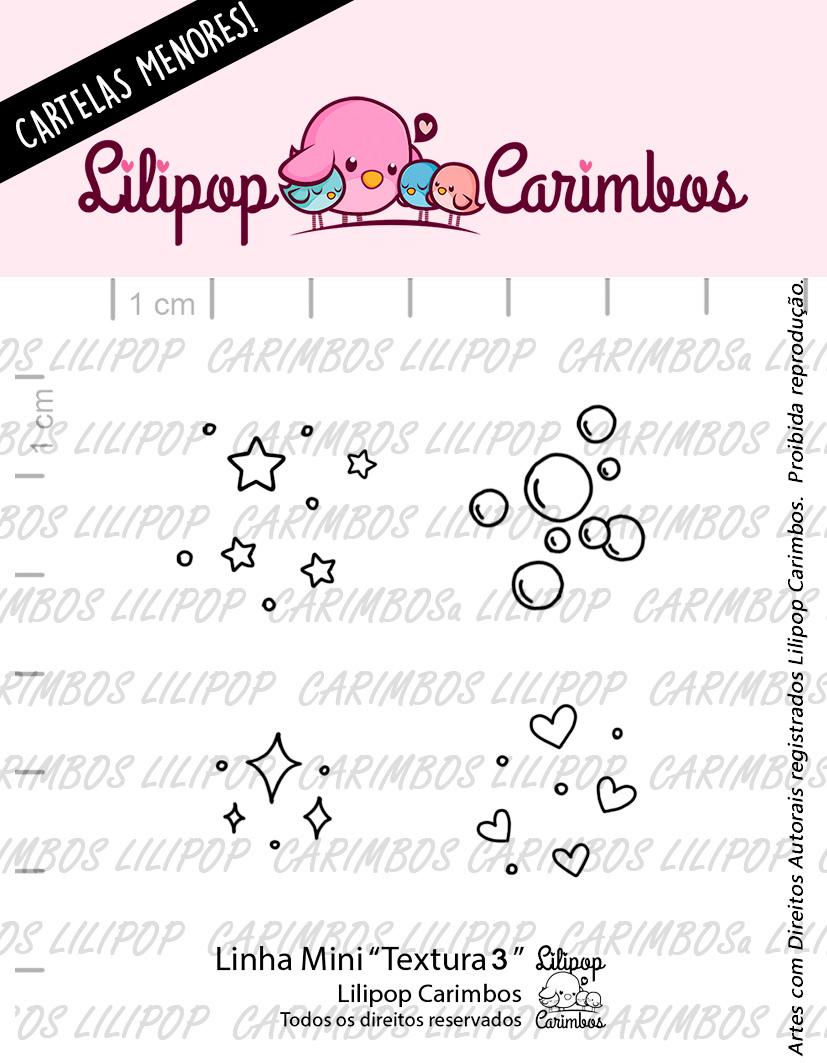 "Cartela de Carimbos Mini - ""Textura 3"" - Lilipop Carimbos  - Lilipop carimbos"
