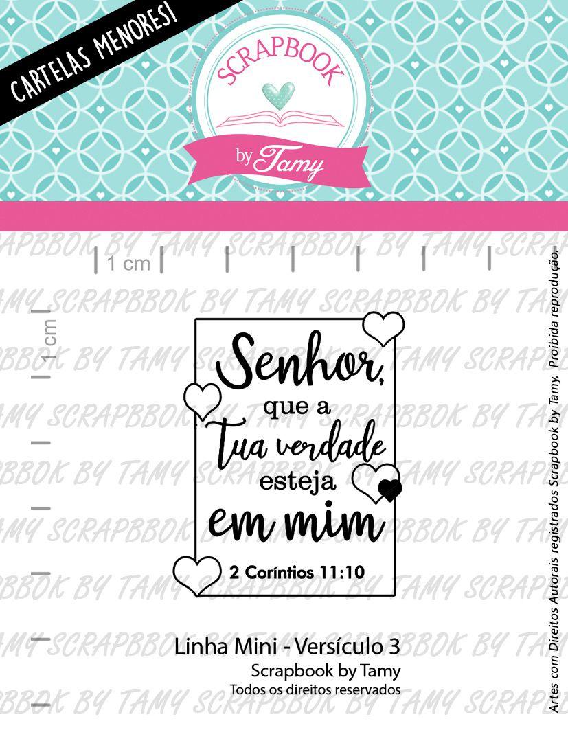 """Cartela de Carimbos Mini - """"Versículo 3"""" - Scrapbook by Tamy  - Lilipop carimbos"""