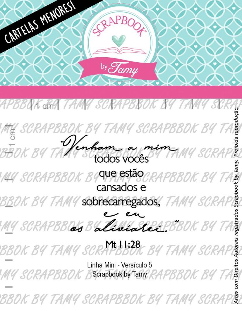 "Cartela de Carimbos Mini - ""Versículos 5"" - Scrapbook by Tamy  - Lilipop carimbos"