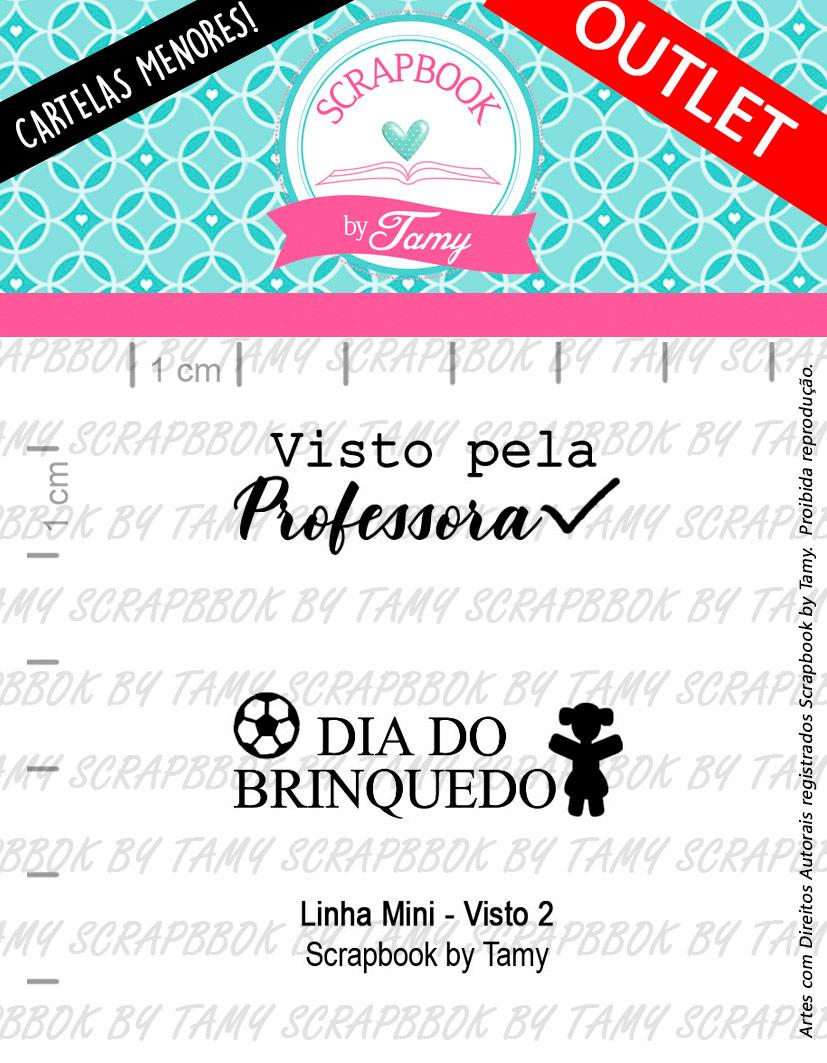 """Cartela de Carimbos Mini - """"Visto 2"""" - Scrapbook by Tamy  - Lilipop carimbos"""