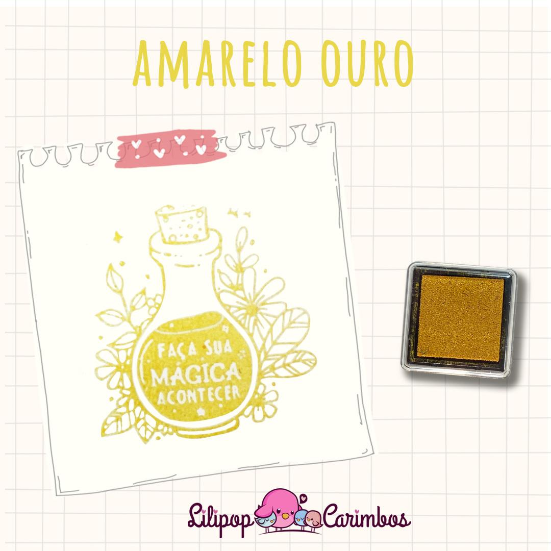Mini Carimbeira - Cor Amarelo Ouro - Tinta pigmentada  - Lilipop carimbos